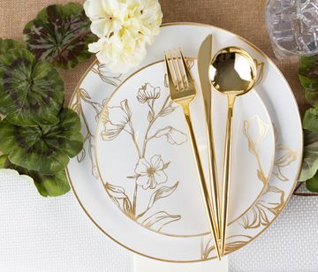 Novelty Collection Gold Looks Like Real Plastic Dinner Forks 32ct.