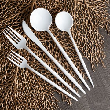 Novelty Collection White Looks Like Real Plastic Teaspoons 32ct.