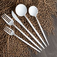 Opulence White Plastic Wedding Party Cutlery Combo 40ct.