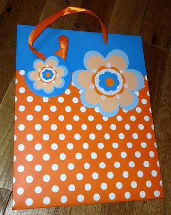 Orange & Blue Dot/Floral Medium Gift Bag With Ribbon Handle & Gift Tag