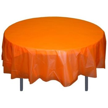"Orange Plastic 84"" Round Tablecloth"