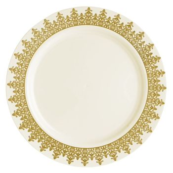 "Ornament 10 1/4"" Cream w/ Gold Regal Border Plastic Banquet Plates *Case of 120*"