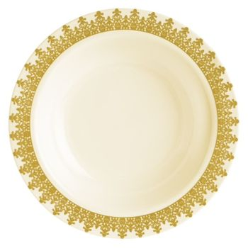 Ornament Cream w/ Gold Regal Border 5oz. Plastic Dessert Bowls *Case of 120*