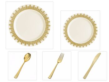 "Ornament Cream w/Gold Regal Border China-Like Plastic 10"" Banquet Plates + 7"" Salad Plates + Cutlery *Party of 100*"