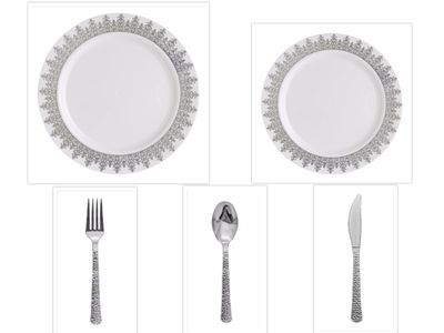 """Ornament White w/Silver Regal Border China-Like Plastic 10"""" Banquet Plates + 7"""" Salad Plates + Cutlery *Party of 100*"""