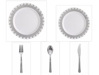 "Ornament White w/Silver Regal Border China-Like Plastic 10"" Banquet Plates + 7"" Salad Plates + Cutlery *Party of 60*"