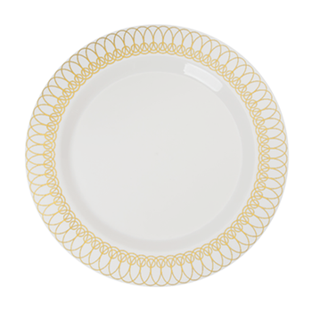 """Ovals Design 10.25"""" Ivory w/Gold Oval Border Banquet Plastic Plates 10ct."""