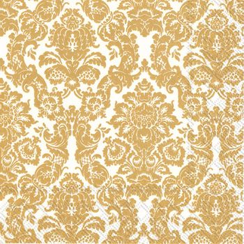 Palais White and Gold Cocktail 3-Ply Napkins- 20 Napkins per Pack