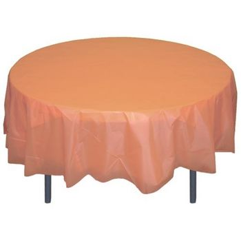 """Peach 84"""" Round Plastic Tablecloths Table Covers"""