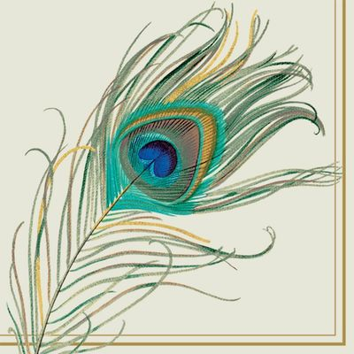 Peacock Feather Cocktail Napkins 20ct