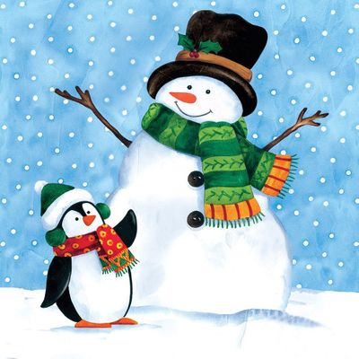 Penguin Pals Christmas 2-Ply Lunch Napkins 18ct.