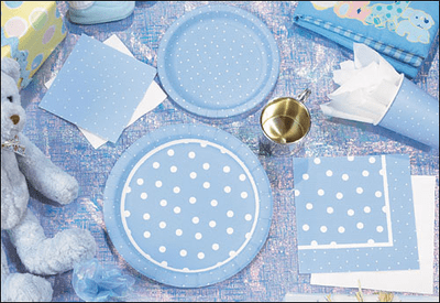 Perfectly Periwinkle Blue Baby Polka Dot Beverage Napkins, 3-ply 16ct.