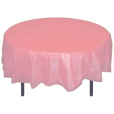 """Pink 84"""" Round Plastic Tablecloths"""