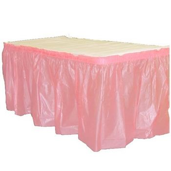 Pink Plastic Rectangular Table Skirt 14ft.x29in