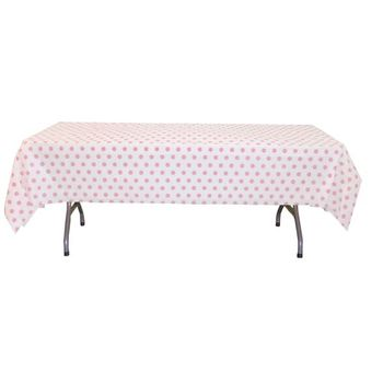 "Pink Polka Dot Plastic Tablecloths 54"" x 108"""