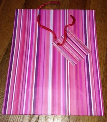 Pink & Purple Multi Striped Medium Gift Bag With Rope Handle & Gift Tag