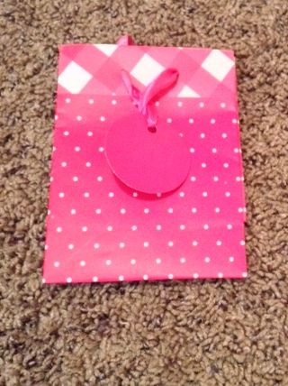 Pink w/ White Polka Dots Small Gift Bag w/ Ribbon Handle and Pink Circle Gift Tag