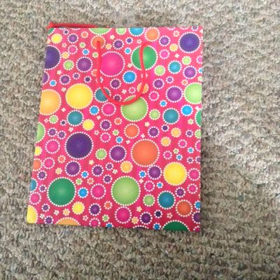Pink with Mulit Colored Circles Medium Gift Bag with Red Rope Handle