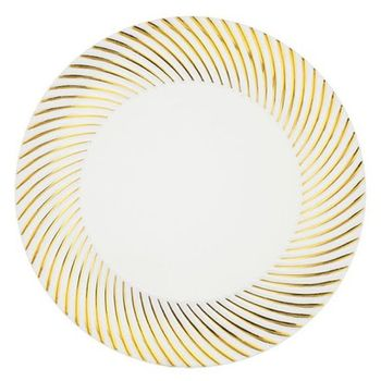 "Plexware Collection 9"" White w/ Gold Swirl Border Plastic Dinner Plates *Case of 120*"