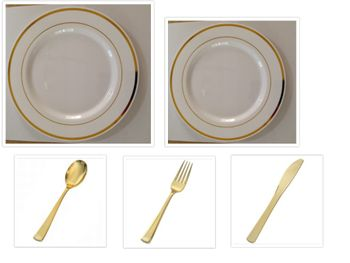 """Plexware Collection White w/Gold Band China-Like Plastic 10"""" Dinner Plates + 7"""" Salad Plates + Cutlery *Party for 100*"""