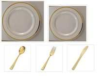 "Plexware Collection White w/Gold Band China-Like Plastic 10"" Dinner Plates + 7"" Salad Plates + Cutlery *Party for 100*"