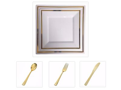 """Plexware Square White w/ Gold Band 9.5"""" Dinner Plates + 8"""" Salad Plates + Cutlery *Party for 60*"""
