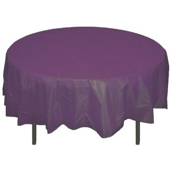 "Plum 84"" Round Plastic Tablecloths Table Covers"