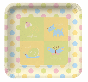 "Precious Wonders Baby Shower 10"" Square Paper Plates 8ct."