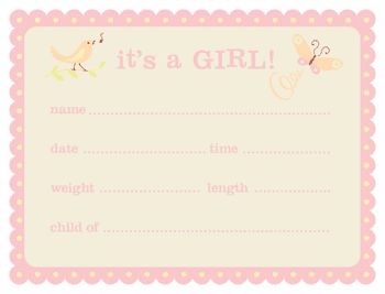 Precious Wonders Baby Shower Announcement Cards Girls 8ct.