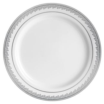 "Prestige 9"" White w/Silver Border Plastic Dinner Plates *Case of 120*"