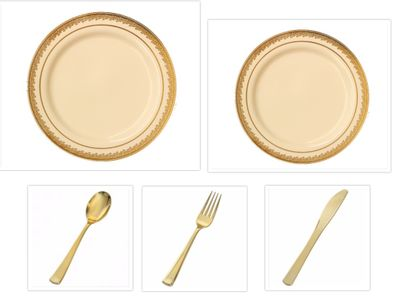 "Prestige Cream w/Gold Border China-Like Plastic 10"" Banquet Plates + 7"" Salad Plates + Cutlery *Party of 60*"