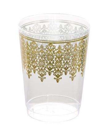 Ornament Cream w/ Gold Regal Border 10oz. Plastic Cups 10ct.