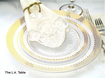 "Princess Gold 10 1/4"" White Dinner Plastic Plates w/ Gold Stripes and Dots *Case of 100*"