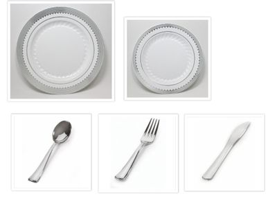 """Princess Silver 10 1/4"""" Dinner Plates + 7.5"""" Salad Plates + Cutlery *Case of 120*"""
