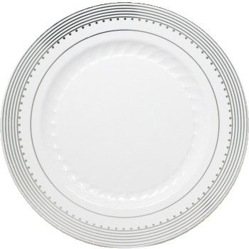 """Princess Silver 10 1/4"""" White Dinner Plastic Plates w/ Silver Stripes and Dots 10ct."""