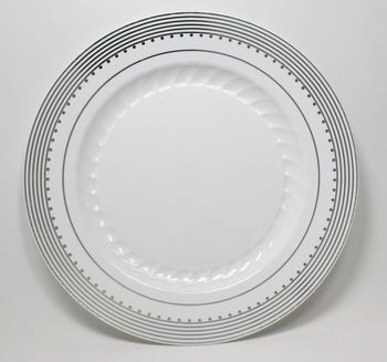 "Princess Silver 10 1/4"" White Dinner Plastic Plates w/ Silver Stripes and Dots *Case of 100*"