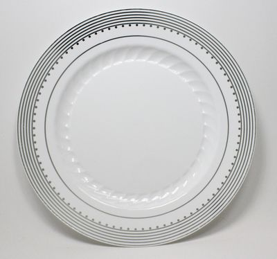 """Princess Silver 10 1/4"""" White Dinner Plastic Plates w/ Silver Stripes and Dots *Case of 100*"""