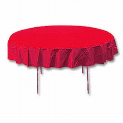 """Real Red 82"""" Octy Round Polylined Tablecloths"""