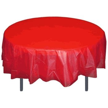 """Red 84"""" Round Plastic Tablecloths"""