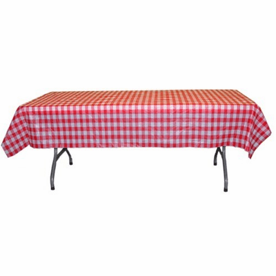 "Red Gingham Plastic Patterened Tablecloths 54"" x 108"""