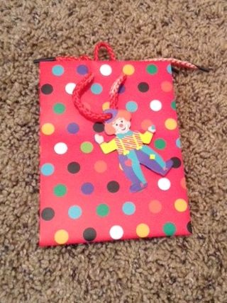 Red w/ Multi Colored Polka Dots Small Gift Bag w/ Ribbon Handle and Clown Gift Tag