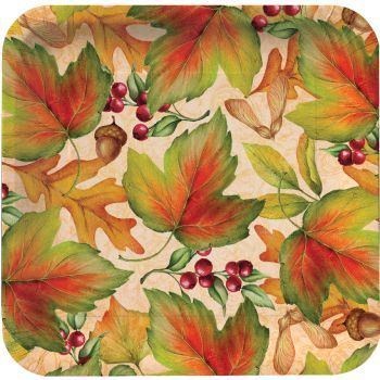 "Rich Foliage 10"" Square Thanksgiving Banquet Paper Plates 8ct."