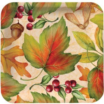 "Rich Foliage 7"" Square Thanksgiving Dessert Paper Plates 8ct."