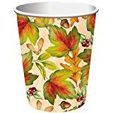 Rich Foliage Thanksgiving 9oz, Hot / Cold Paper Cups 8ct.