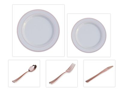"Rose Gold Splendor 10.25"" Dinner Plates + 7"" Salad Plates + Cutlery *Party for 120*"