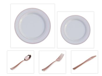 """Rose Gold Splendor 10.25"""" Dinner Plates + 7"""" Salad Plates + Cutlery *Party for 60*"""
