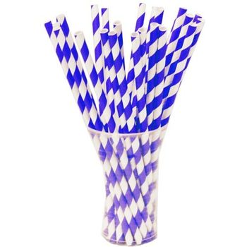Royal Blue Striped Paper Straws 25ct.