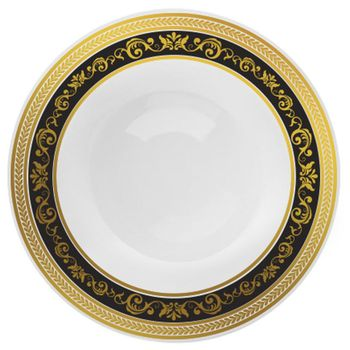 "Royal Collection 10 1/4"" White w/ Black and Gold Royal Border Banquet Plastic Plates *Case of 120*"
