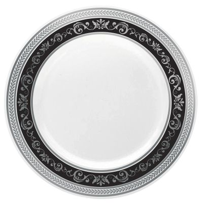 """Royal Collection 10 1/4"""" White w/ Black and Silver Royal Border Banquet Plastic Plates 10ct."""