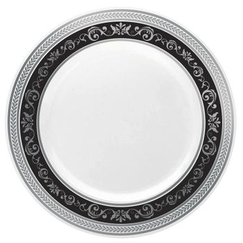 "Royal Collection 10 1/4"" White w/ Black and Silver Royal Border Banquet Plastic Plates *Case of 120*"
